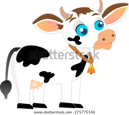 Black and white cow with bell, isolated on white background. - stock vector
