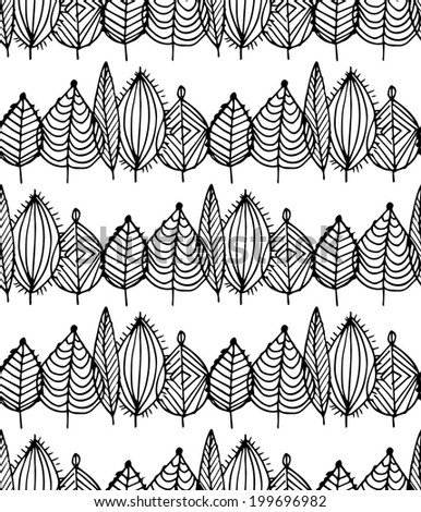 Black and white crossed leaves seamless pattern in vector. Green foliage endless background in sketch style - stock vector