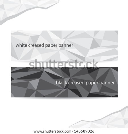 black and white crumpled paper banner set. creased paper header for website design