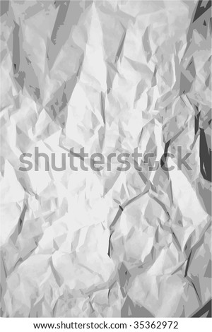 black and white crumpled paper texture - stock vector