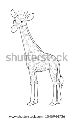 Black And White Cute Cartoon Giraffe. Coloring Pages For The Children.  Vector Illustration