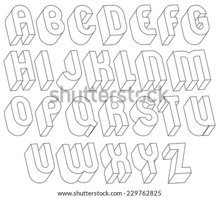 Black And White 3d Font Made With Thin Lines Single Color Simple Bold Letters