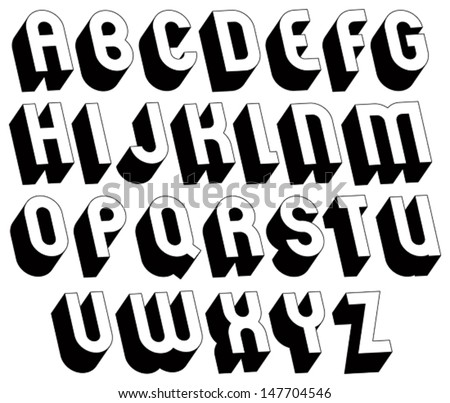 black and white 3d font single color simple and bold letters alphabet best for