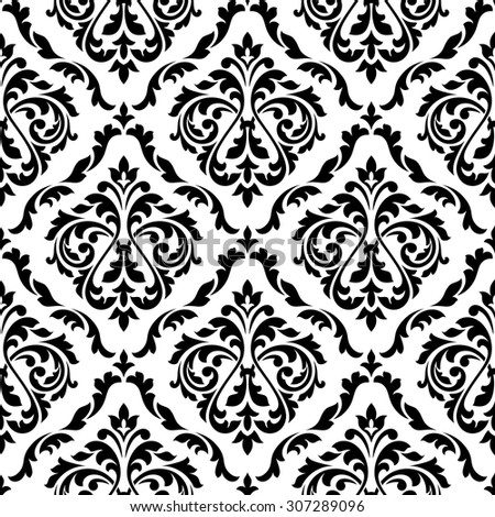 Black and white damask floral seamless pattern with elegant flower buds. For wallpaper and background design - stock vector
