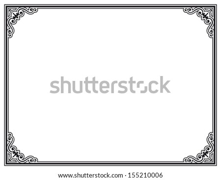 black and white decorative vector frame - stock vector