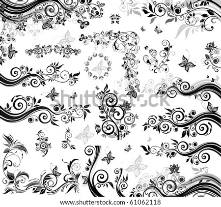 Black and white design elements - stock vector
