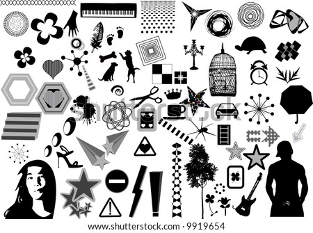 black and white design elements collection - stock vector