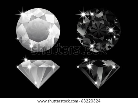 black and white Diamonds - stock vector