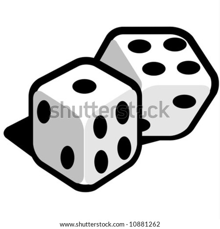 black and white dice - stock vector