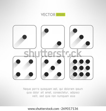 Black and white dice icons set in modern flat design. Craps with long shadows. Casino element. Vector illustration. - stock vector