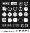 Black and white different clocks collection - stock vector