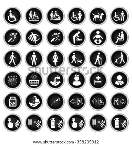 Black and white disability people medical and fire escape route related icon collection isolated on white background  - stock vector