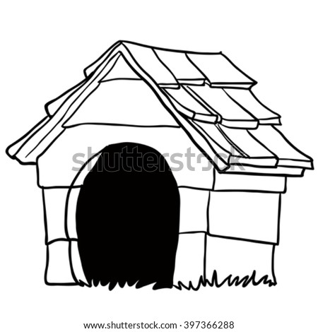 Black And White Dog House Cartoon