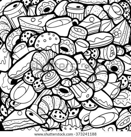 black white doodle background coffee shop stock vektor