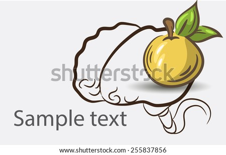Black and white doodle brain background with apple and place for sample text - stock vector