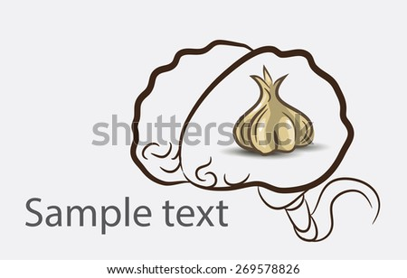 Black and white doodle brain background with garlic and place for sample text - stock vector