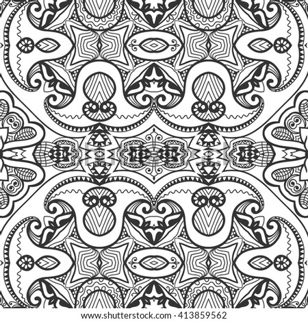 Black and white doodle sketch seamless pattern, repeating monochrome graphic lace texture. Tribal ethnic ornament. Vector decorative geometric background - stock vector