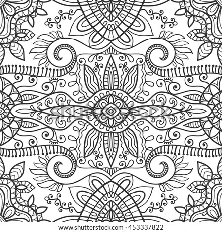 Black and white doodle sketch seamless pattern, repeating monochrome graphic texture. Tribal ethnic zentangle ornament. Vector full frame decorative geometric background without color - stock vector