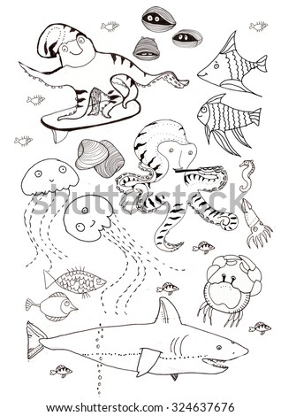 Black and white doodles . Sea, fishes and octopuses. Underwater life. - stock vector