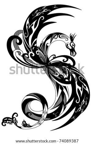black and white dragon vector - stock vector