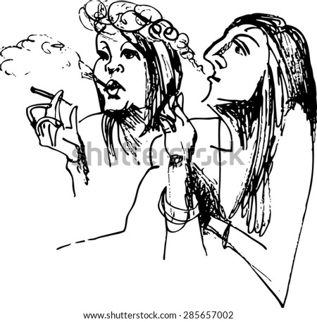 black and white drawing of a smoking girl