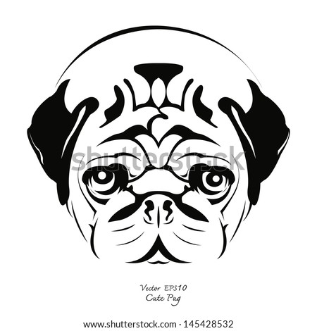 stock-vector-black-and-white-drawing-of-pug-dog-vector-illustration    Dog Black And White Drawing