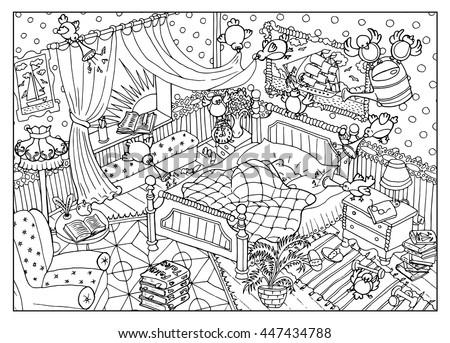 Black White Drawing Naughty Birds Sleeping Stock Vector 447434788 ...