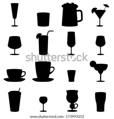 Black and white drink glass icons isolated on white background.