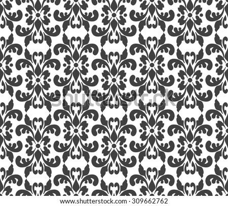 Black and white elegant damask wallpaper. Vintage pattern. Seamless classic background. - stock vector