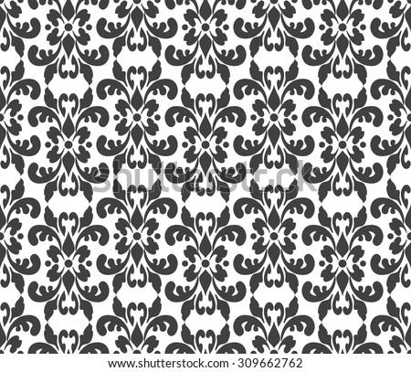 Black And White Elegant Damask Wallpaper Vintage Pattern Seamless Classic Background