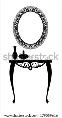 Black and white elegant dressing table with an oval mirror - stock vector