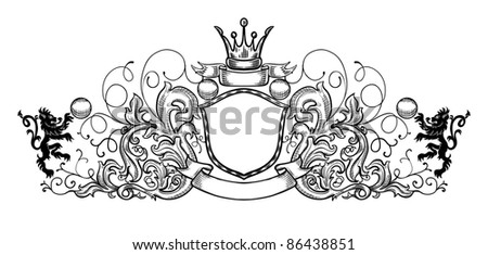 black and white emblem, all the elements are grouped - stock vector
