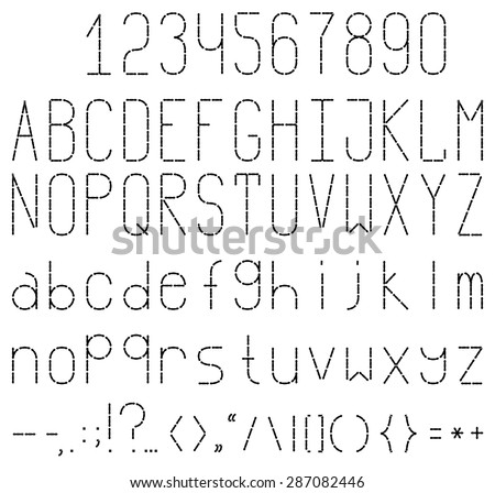 Black and white embroidered font. Full set with numbers and punctuation. - stock vector