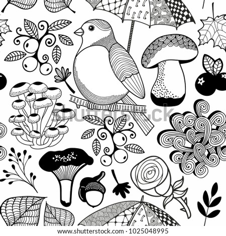 Black And White Endless Wallpaper For Coloring Book Pages Seamless Pattern With Forest Nature In