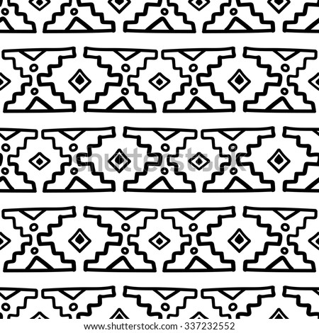 Black and white ethnic south america abstract vector seamless pattern mexican peru or aztec