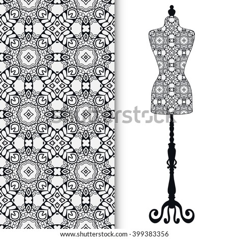 Black and white fashion illustration, vintage tailor's dummy for female body, hand drawn doodle sketch seamless pattern, isolated elements for invitation card design, repeating texture - stock vector