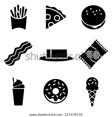 Black and White Fatty Food Icons - stock vector