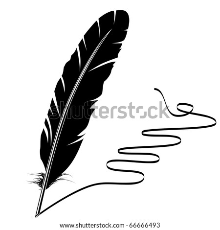 Black-and-white feather and flourish - stock vector
