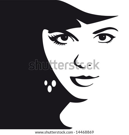 Black and white female face vector illustration - stock vector