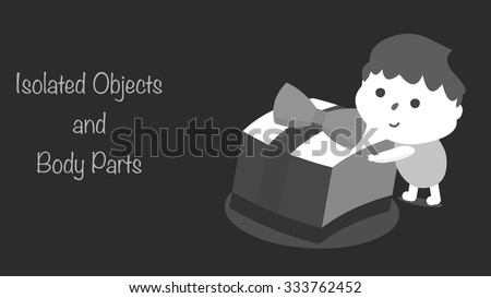Black and white filter effect holidays greeting card template. Cartoon boy child character holding a big present, unwrapping Christmas gift box. All elements are isolated for your custom design. - stock vector