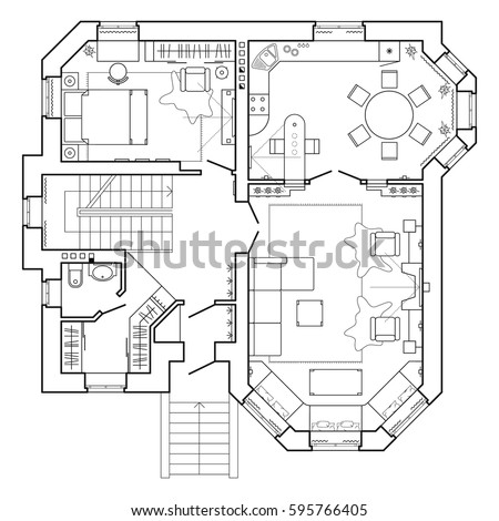 Black white floor plan modern apartment stock vector 595766405 black and white floor plan of a modern apartment detailed architectural vector blueprint standard malvernweather Choice Image