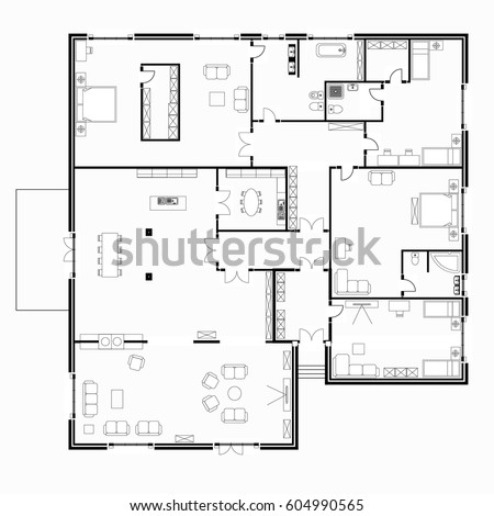Black White Floor Plans Modern Apartment Stock Vector 2018