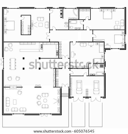 Black White Floor Plans Modern Apartment Stock Vector 605076545 ...