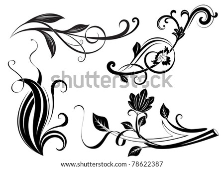Black and white floral branches design elements. - stock vector