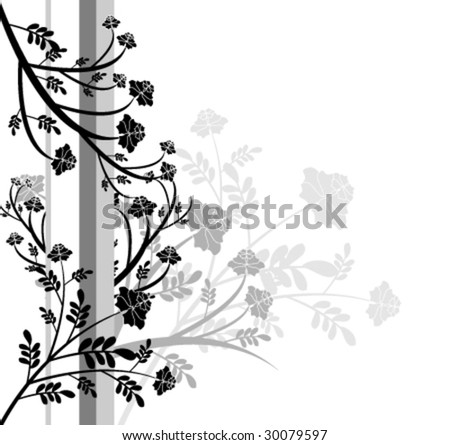 Black and white floral design - stock vector