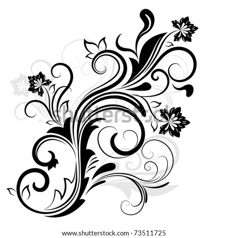Black and white floral design element. - stock vector