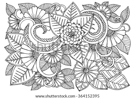 black and white floral doodle coloring pages for book vector line art - Doodle Coloring Pages
