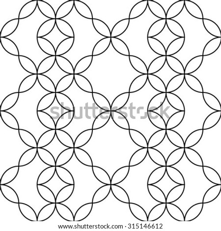 Black and white floral geometric seamless pattern in modern stylish. Abstract background. Vector seamless pattern. - stock vector