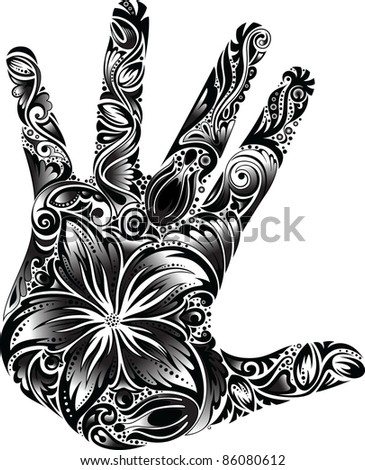 Black and White floral palm