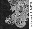 black and white floral pattern - stock
